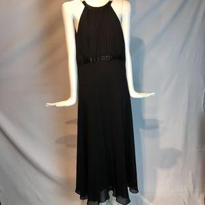 sleeveless black beaded dress